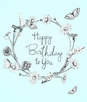 Mooie verjaardagskaart met bloemenkrans