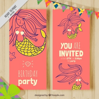 Mooie verjaardagskaart met de hand getekende mooie zeemeermin