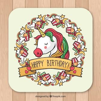 Mooie verjaardagskaart met eenhoorn gezicht