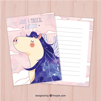 Mooie verjaardagskaart met waterverf eenhoorn