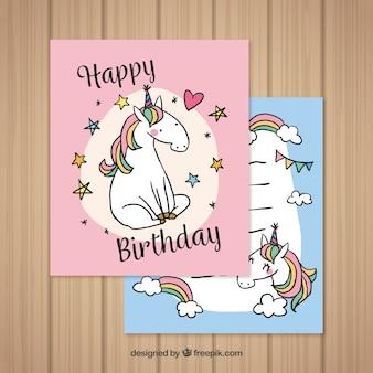 Mooie verjaardagskaartjes met handgetekende eenhoorn