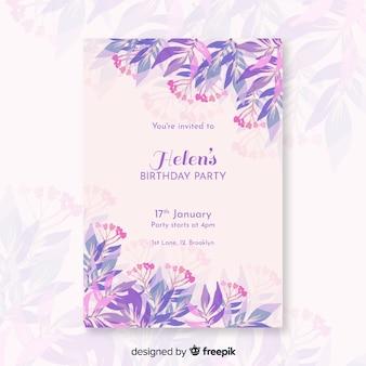 Mooie verjaardagsuitnodiging met bloemenmalplaatje