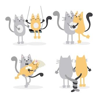 Mooie verliefde katten trouwen. valentijnsdag, huwelijksfeest decor, uitnodigingen, wenskaarten. vector illustratie