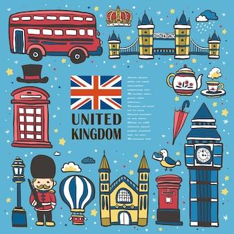 Mooie verzameling reisimpressies in het verenigd koninkrijk in handgetekende stijl
