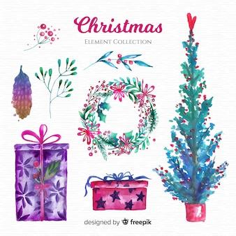 Mooie verzameling van aquarel kerst elementen