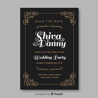 Mooie vintage bruiloft uitnodiging sjabloon