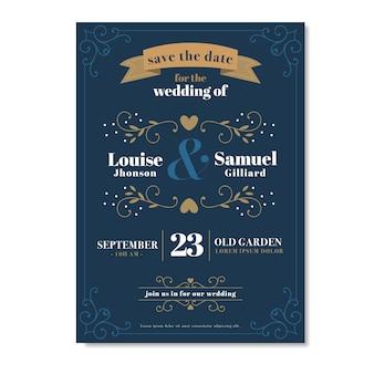 Mooie vintage bruiloft uitnodiging