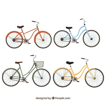 Mooie vintage fietsen in vlak design