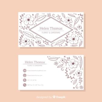 Mooie visitekaartjesjabloon met bloemenontwerp