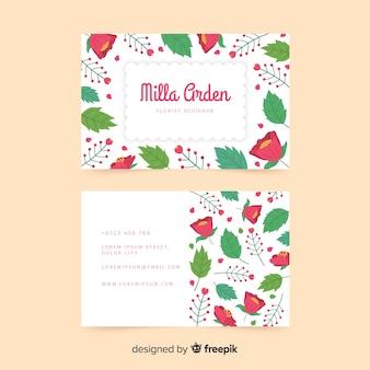 Mooie visitekaartjesjabloon met bloemenstijl