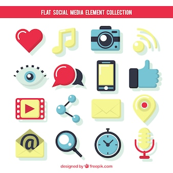 Mooie vlakke elementen van sociale media