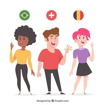 Mooie vlakke karakters die verschillende talen spreken Gratis Vector