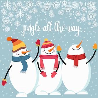 Mooie vlakke ontwerpkerstkaart met gelukkige sneeuwman
