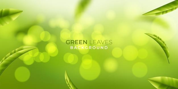 Mooie vliegende groene theeblad realistische 3d-achtergrond