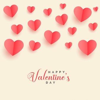Mooie vliegende papercut harten valentijnsdag achtergrond