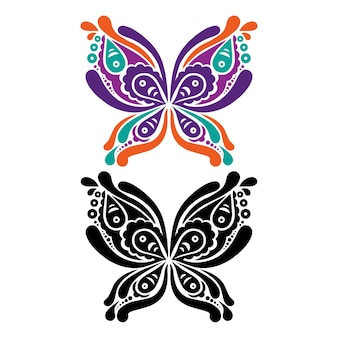 Mooie vlindertattoo. artistiek patroon in vlindervorm. kleur en zwart-wit versie