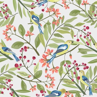 Mooie vogel en bloem met groen blad naadloos patroon.