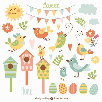 Mooie vogels en nestkastjes
