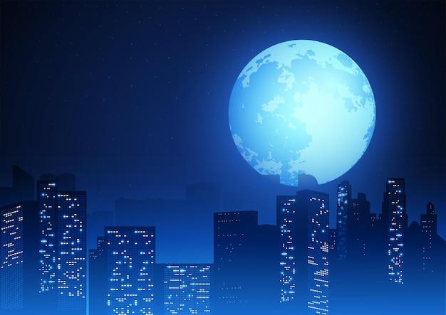 Mooie volle maan op stadsgezicht, stadslandschap vectorillustratie