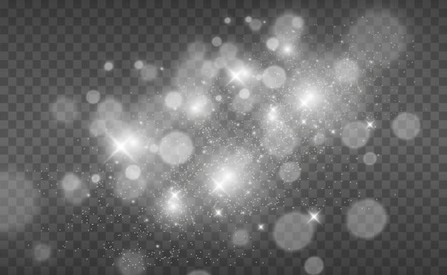 Mooie vonken schijnen met bijzonder licht. vector schittert op een transparante achtergrond. kerst abstract patroon. een mooie illustratie voor de ansichtkaart. de achtergrond voor de afbeelding. armaturen.