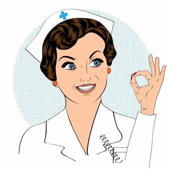 Mooie vriendelijke en zelfverzekerde verpleegster glimlachend