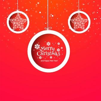 Mooie vrolijke kerstmis bal viering kaart achtergrond