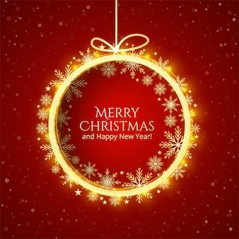 Mooie vrolijke kerstmis glanzende bal festival kaart achtergrond