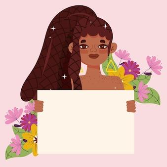 Mooie vrouw afro amerikaanse karakter plakkaat en bloemen