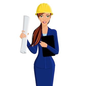 Mooie vrouw bedrijf dame ingenieur in helm geïsoleerd op witte achtergrond vector illustratie