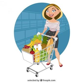 Mooie vrouw bij supermarkt