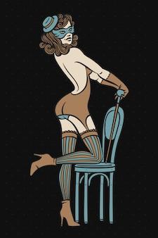 Mooie vrouw cabaret danser illustratie
