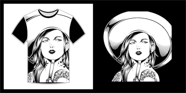 Mooie vrouw die een mexicaanse sombrerohoed draagt, t-shirtontwerp