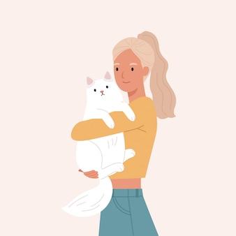 Mooie vrouw die haar witte kat koestert. portret van gelukkige huisdiereneigenaar. vectorillustratie in een vlakke stijl