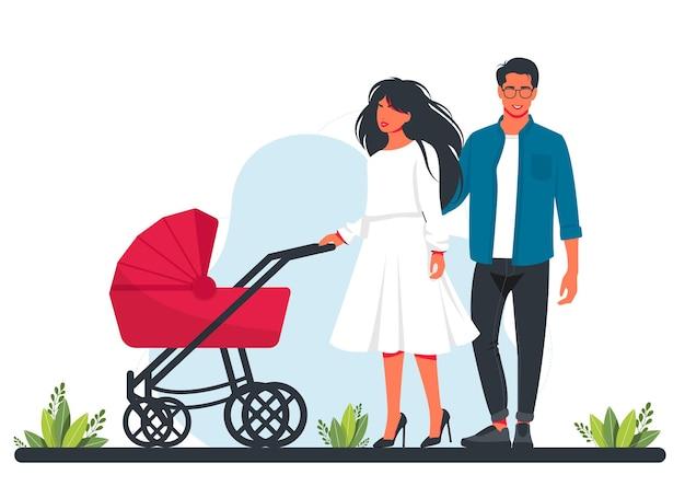 Mooie vrouw en man met kinderwagen en baby. moeder en vader wandelen met hun jonge kinderen. moederschap en vaderschap. zwangerschap en moederschap concept vectorillustratie. glimlachende gelukkige ouders.