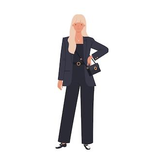 Mooie vrouw, gekleed in modieus zwart pak. vrouwelijke personage in mode kleding met trendy handtas. illustratie in een vlakke stijl