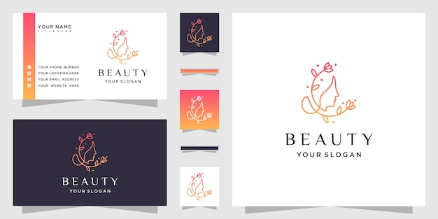 Mooie vrouw gezicht bloem met lijn art stijl logo en visitekaartje ontwerp