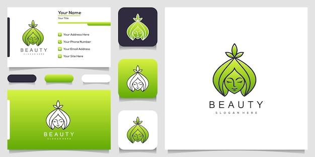 Mooie vrouw gezicht bloem ster met lijn art stijl logo en visitekaartje ontwerp