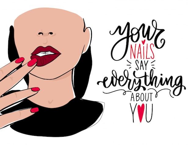 Mooie vrouw gezicht, hand met manicure nagels en rode nagellak, belettering offerte. poster sjabloon