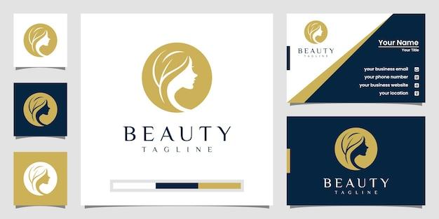 Mooie vrouw haar logo en visitekaartje Premium Vector