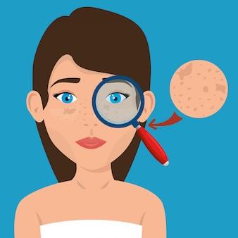 Mooie vrouw in gezichtsbehandeling