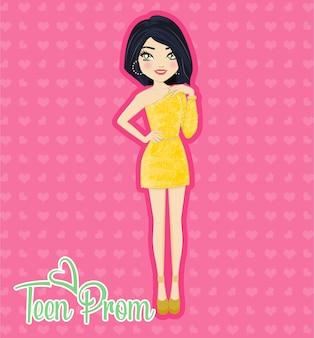 Mooie vrouw in het geel