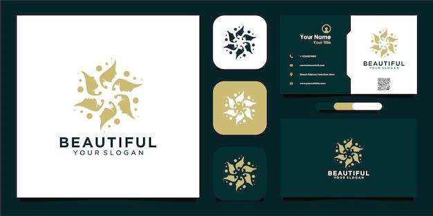 Mooie vrouw logo inspiratie met bloemen en visitekaartje