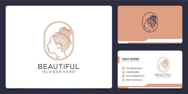 Mooie vrouw luxe logo en visitekaartje concept