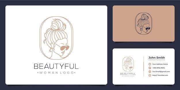 Mooie vrouw luxe logo ontwerp en visitekaartje