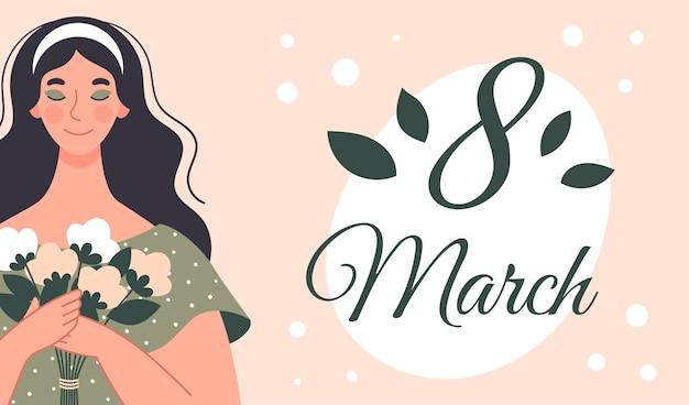 Mooie vrouw met een boeket bloemen. ansichtkaart voor vrouwendag. illustratie in vlakke stijl
