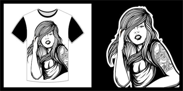 Mooie vrouw met lang haar, t-shirtontwerp