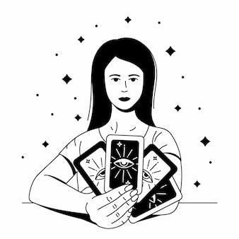 Mooie vrouw profetes met tarotkaarten overzicht zwarte vectorillustratie