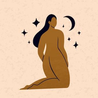 Mooie vrouw silhouet met lang haar