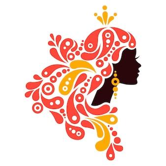 Mooie vrouw silhouet. tatoeage van abstract meisjeshaar