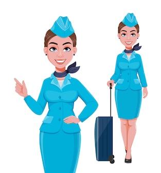 Mooie vrouw stewardess stripfiguur in professioneel uniform